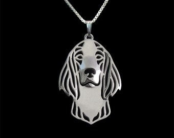 Irish Red and White Setter - sterling silver pendant and necklace