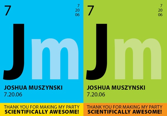 Periodic Element • Thank You Cards • Science Party • printable