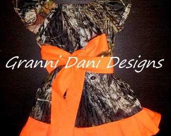 mossy oak camo short sleeve peasant dress baby toddler girl 6 9 12 18 24 months 2t 3t 4t 5t ruffle orange