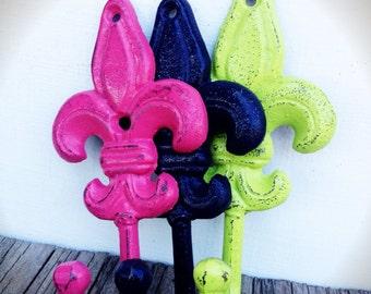 BOLD fleur de lis wall hooks // hot pink lime green navy blue // towel coat hook // nautical tropical hand painted cast iron