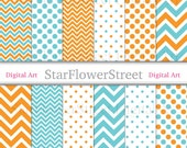 Blue Orange Chevron Polka Dot Digital Paper Instant Download Scrapbook Background turquoise patterns scrapbooking photography printable