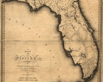 1823 Map of Florida DIGITAL DOWNLOAD Map of Florida Before It Became A US State