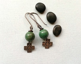 Santa Fe Southwestern Dangle Earrings Sterling Silver Ear Wires African Jade Sterling Silver Artisan Cross Charms