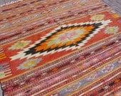 "VINTAGE Turkish Kilim Rug Carpet, Handwoven Kilim Rug, Antique Kilim Rug,Decorative Kilim, Natural Wool 73"" X 99''"