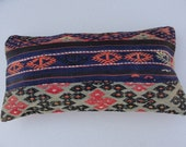 """Turkish Wool  Lumbar Pillow Handwoven Lumbar Pillow Lumbar Decorative Pillow Kilim Pillow Chevron Outdoor Pillow 24"""" x 12.5"""""""