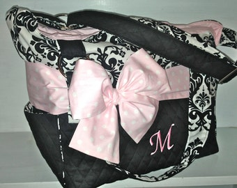 Personalized Messenger Style Diaper Bag Set.  Black & White Damask With Lt. Pink Polka Dot Bow/Sash.   Added Outside Pockets.