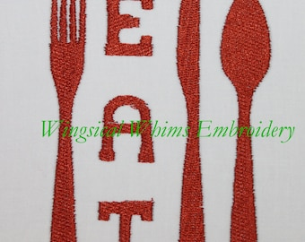 Kitchen Eat Great for Napkins Design Digitized Machine Embroidery Cooking Cook Utensils