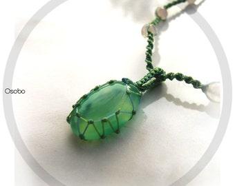 Hand Knotted Macrame Gemstone Necklace - Chalcedony & Roze Quartz