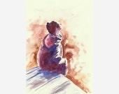 Bathing in sunlight original watercolor painting, harmony art