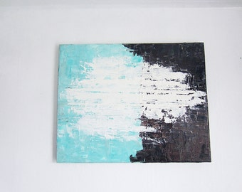 "original oil painting 16""X20"" modern abasract brown turquoise white"