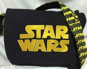 Custom Geeky Star Wars Yellow Logo Fabric Messenger bag