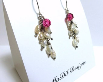 Fresh Water Pearls Earrings Indian Pink Swarovski Crystal Hand Formed Sterling Silver Ear Wires by MaDil Designs
