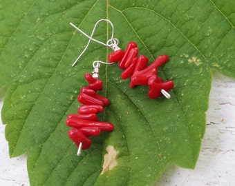 Handmade Red Coral And Sterling Silver Earrings