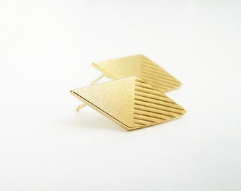 Gold post earrings, Geometric stud earrings, Rhombus earrings, geometric Jewelry, Gold Jewelry