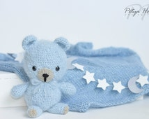Fuzzy Mohair\Wool Newborn Knit Blanket And Teddy Bear Set, Newborn Bear and Mohair Blanket, Knit Photo Prop, Teddy Bear Toy, Bear Set