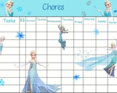 Printable Instant Download - Elsa Chore Chart - JPEG File Personalize Add your childs Name
