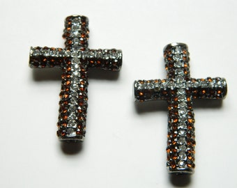 Brown Rhinestone Cross Connector, Charm Bead Sideways Cross, Basketball Wives 38mmX26mm