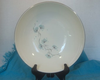"Taylor Smith Taylor Mid Century Blue Lace Pattern - 9"" Large Round Vegetable Serving Bowl"