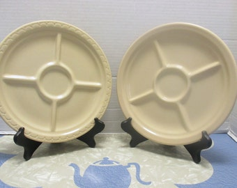 Syracuse China Econo Rim Divided Compartment Grill Chip and Dip Plates - Set of 2 Tan Restaurant Diner Ware - 1940s