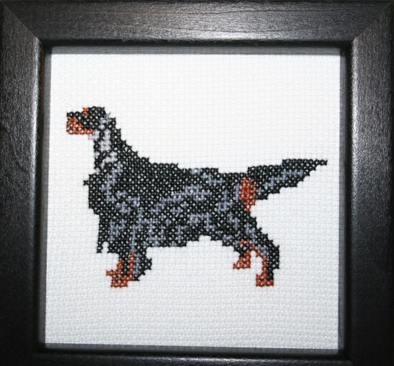 Gordon Setter Cross Stitched Full Body Dog.