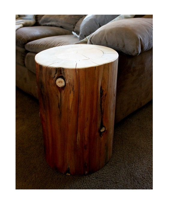 Tree Stump Table - Reclaimed Wood Furniture - Wood Side Table