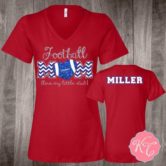 Personalized Football Mom Custom Glitter Shirt By Kaydoncreek