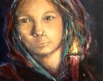 """Entitled """"Keeping Watch"""", original 16x20 painting of young woman with candle shining in the night"""