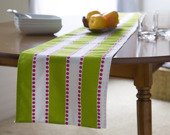 """Green TABLE RUNNER.Table Runner.Green Table Runners.Striped Green White & Pink Table Cloth. 48"""", 60"""",72"""",84"""",96"""" Runner or 12 x 18""""Placemat."""