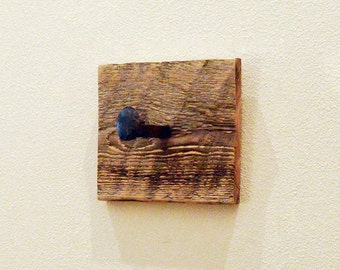 Rustic wall hook, towel hook, railroad spike coat hanger, reclaimed wall hooks, barnwood hat hanger