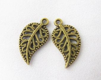 50pcs 10x17mm Antique Bronze Lovely Mini Leaf Charms Pendants Drops Jewelry Supplies TG1319-27