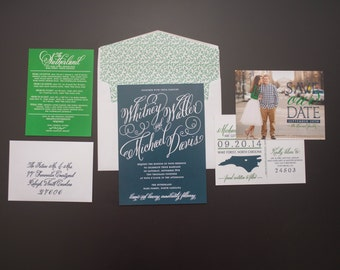 Navy Wedding Invitation, Green Wedding Invitation, Elegant Wedding Invitation, Classic Wedding Invitation, Modern Wedding Invitation