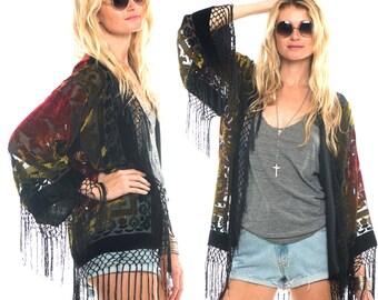 Silk Burnout Velvet Fringe Fire Hippie Boho Gypsy Festival Kimono Jacket