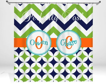 Personalized Lime and Navy Shower Curtain