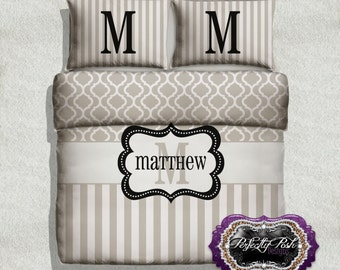 Quatrefoil with Stripe Bedding Custom Design and Personalized Comforter or Duvet with Monogram