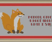 Nobody gives a hoot about what I say: cute fox cross-stitch pattern