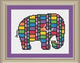 Stained glass elephant: cool elephant cross-stitch pattern