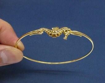 gold Seahorse Bangle Bracelet, Seahorse Jewelry, Christmas gift, casual bangle,Nautical bangle,Ocean bangle, Beach Bangle