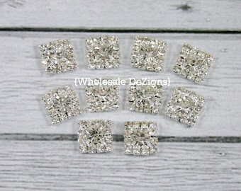 Square Clear Rhinestone Crystal Embellishments - 10 Pieces - 12mm Metal Base - Petite 12 mm