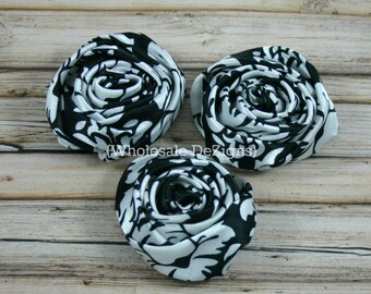 "Black Damask Satin Rolled Rosette Flowers - 2"" - Set of 3 - Black and White"