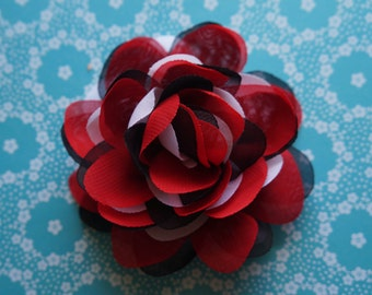"""ON SALE 4"""" tri-color fabric flower puff, Headband OR Clip"""