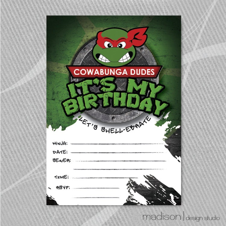 TMNT FillIn Invitation Teenage Mutant Ninja Turtle