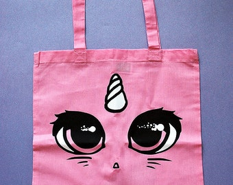 Large pink unicorn cat face tote bag