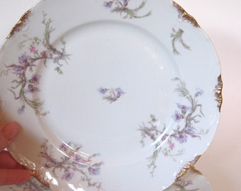 Antique Dinner Plates Warwick China Cabinet Plates Lavender Pink Floral  - Set of 2 - USA Late 1800's | Shabby Cottage Chic Decor Dining