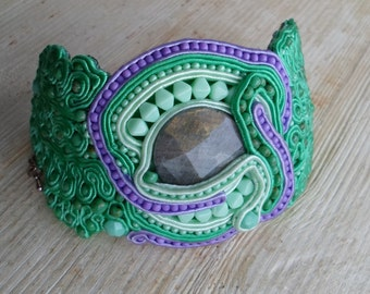 Garden of Eden Handmade soutache bracelet. Vegan friendly.