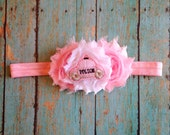 Baby Flower Headband // Pink Police Clip-on (Dual Use) Flower Headband