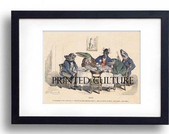 Grandville: The expectation of a guest... (L'attente D'un Convive) - Satirical Cartoonist - Original Handcoloured Engraving C1850's