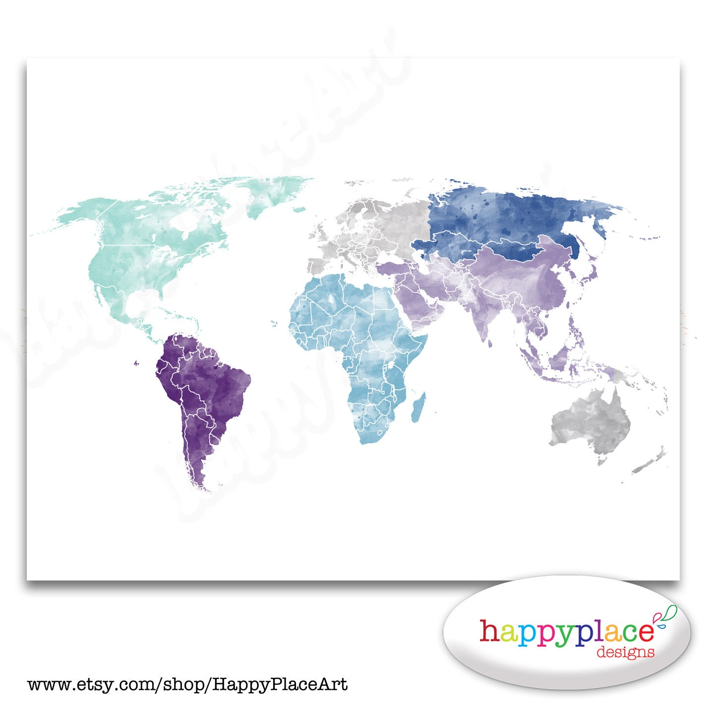Large World Map Wall Art Poster with Personalised by HappyPlaceArt