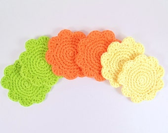 Crochet Cotton Flower Coaster Set of 6, Bright Colored Flowers, Party Coaster Set, Bright Green Bright Yellow, Bright Orange, Spring Kitchen