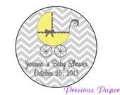 Personalized PRINTED yellow baby shower sticker yellow and gray chevron baby shower favor stickers yellow gray chevron labels