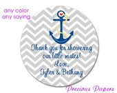 Personalized PRINTED gray anchor stickers baby shower sticker gray chevron nautical stickers nautical baby shower label